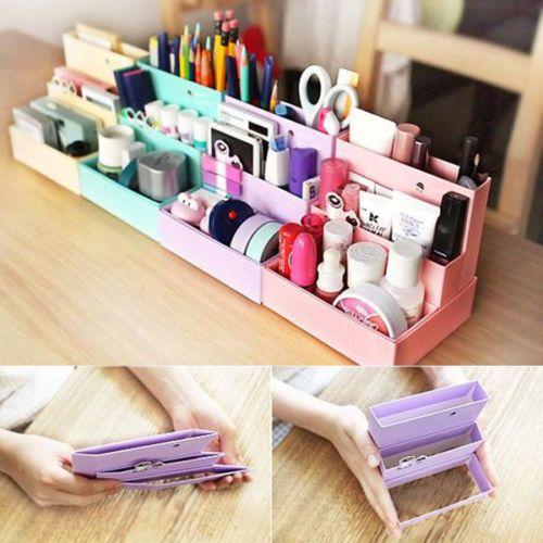 Diy Folding Paper Cardboard Storage Box Makeup Cosmetic Organizer Stationery More Ideas
