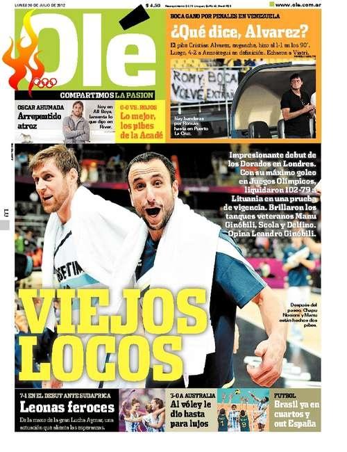 Lunes 30 de Julio del 2012. http://www.ole.com.ar/la-tapa/