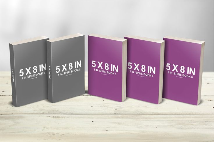 5 x 8 Multi Paperback Book Presentation Mockup  via Covervault