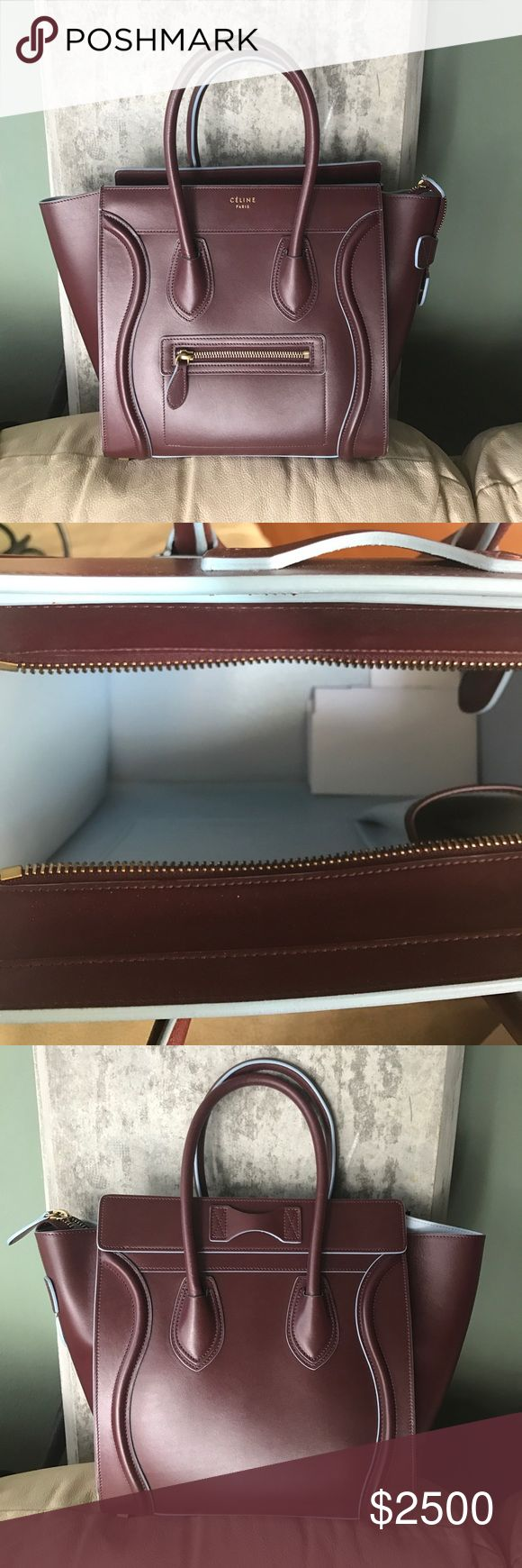 Celine Luggage tote Limited edition Medium sized Luggage bag in oxblood with baby blue piping. This is the Micro size, not the Nano. Smooth calf leather. Gold zippers. Beautiful bag. Authentic.  $3300 plus tax retail because of the piping.  Got another one in black so haven't been using this one. Would love to find a good home for it.  Worn less than a handful of times and is in immaculate condition.  Comes with dustbag. Will include shopping bag as well upon request. Celine Bags