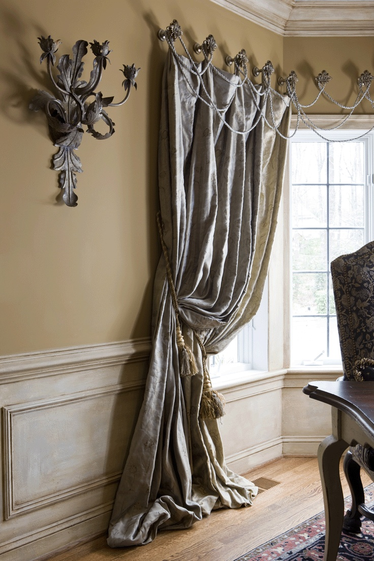 Puddled Drapes With Twine Valance By Alex Clymer Interiors Dining Room