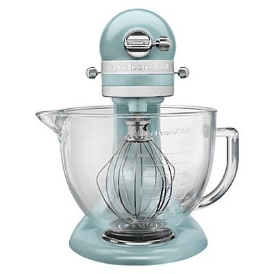 KitchenAid Artisan Design Series 5 Quart Tilt-Head Stand Mixer with Glass Bowl - KSM155GB, Azure Blue
