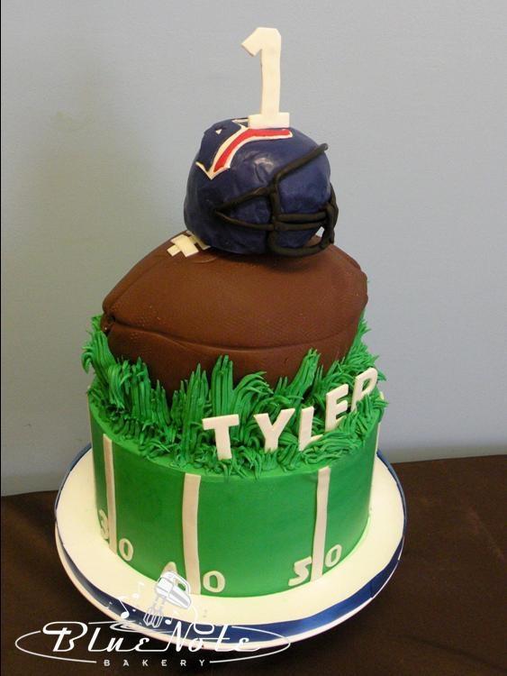 Houston Texans 1st birthday cake - smash cake - football   Blue Note Bakery - Austin, Texas