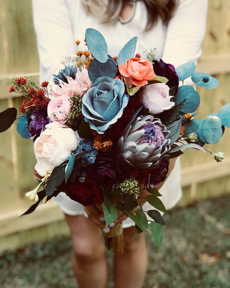 Bouquet, Boho Wedding Bouquet, Rustic Wedding Bouquet, Garden Wildflower Bouquet, OOAK Bouquet, Bohemian Bridal Bouquet, Faux Floral Bouquet by BlairBaileyDesign on Etsy https://www.etsy.com/listing/566264663/bouquet-boho-wedding-bouquet-rustic