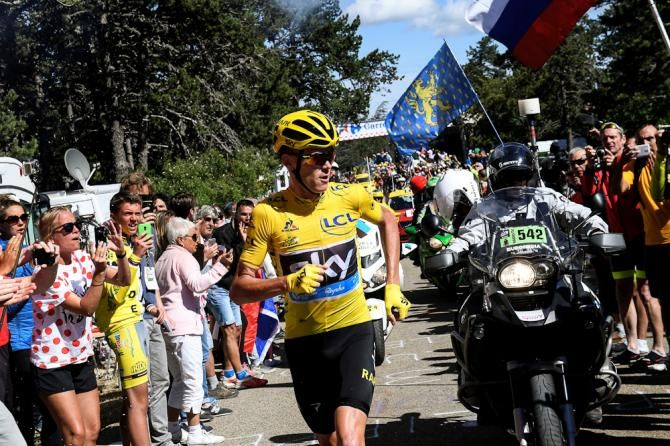 Chris Froome runs for the top of Mont Ventoux during stage 12 at the Tour de France after the infamous camera bike crash after his bike frame was broken. Rather than waiting for a spare bike Froome ran part of the way, stage 12 TdF 2016.
