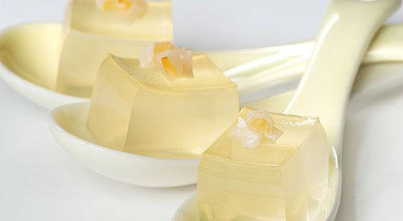Lychee Martini Jelly Shots.The recipe is easy and perfect for patio dining – a refreshing accompaniment (or a gelatin alternative) to an aperitif.  I love these jelly shots served in an appetizer spoon, with a little chopped lychee on top, or alongside.  Another garnish option would be an edible orchid or other flower.