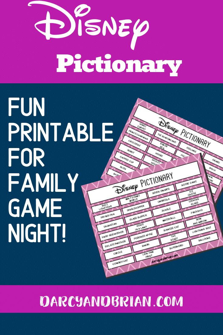 Printable Disney Themed Pictionary Game for Kids in 2020