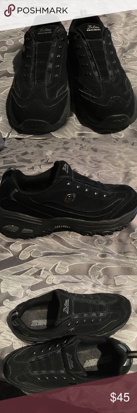 Skechers slip on D'lites Skechers sport D'lite sneakers. Gently worn one time. Slip on style size 8 paid $55 for them. Nice black color matches everything. Skechers Shoes Sneakers