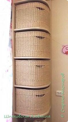 Поделка изделие Плетение Весёлые корзины Трубочки бумажные фото 4