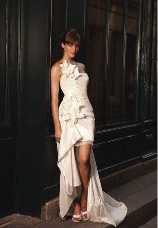 Taffeta Strapless Column Elegant Wedding Dress - Bride - WHITEAZALEA.com