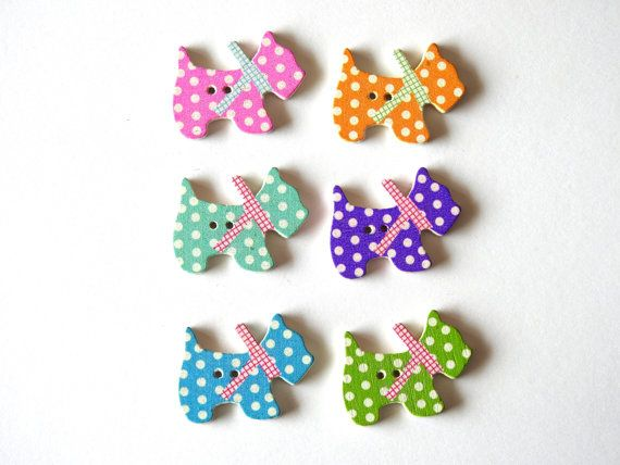 Wooden Buttons Puppy 6 pcs by TextileBird on Etsy