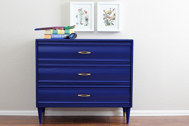 Paint something this color -Benjamin Moore's Admiral Blue in Satin: Paintings Furniture, Old Dressers, Dressers Makeovers, Paintings Dressers, Cobalt Blue, Bold Color, Accent Furniture, Benjamin Moore, Blue Dressers