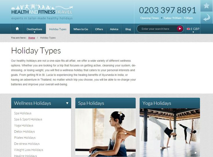 With a wide variety of #healthy holiday options, from fitness and yoga, to spa and detox, discover what's on offer on our Holiday Types page.