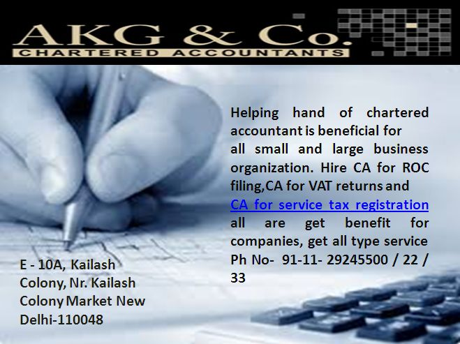 CA is one solution for maintain your all financial transaction; confidentially hire CA for service tax registration may save your fund. http://charteredaccountantnewdelhi.com/companylaw.php