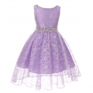 Big Girls Lilac Rhinestone Belt High Low Skirt Flower Girl Dress 8-18