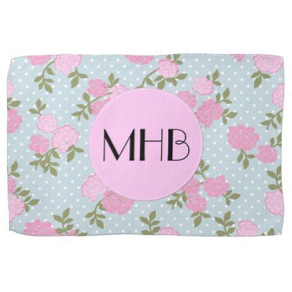 Monogram - Shabby Chic Dots Roses - Blue Pink Hand Towel - shabby chic unique special diy