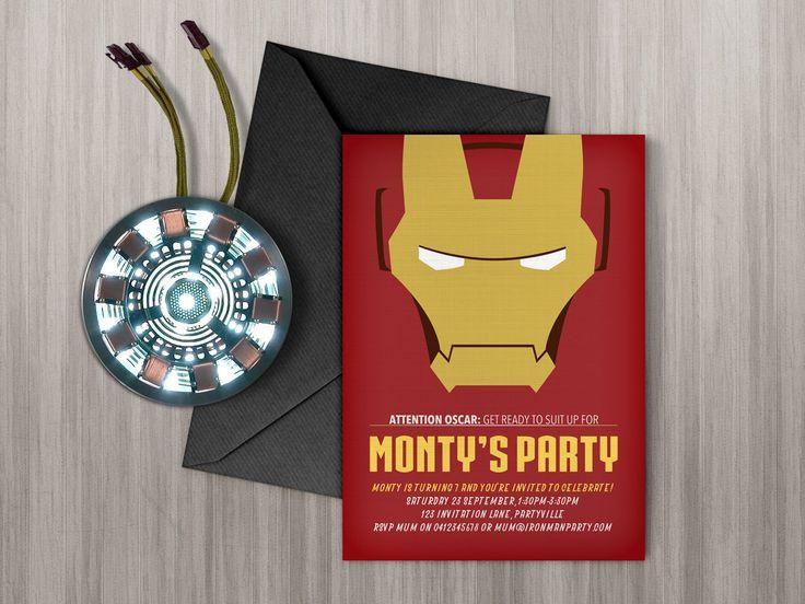Iron Man invitation - Printable, edit & print as many copies as you like / Lego Ironman / Lego Avengers / Iron Man Theme Party by MontyandMeShop on Etsy