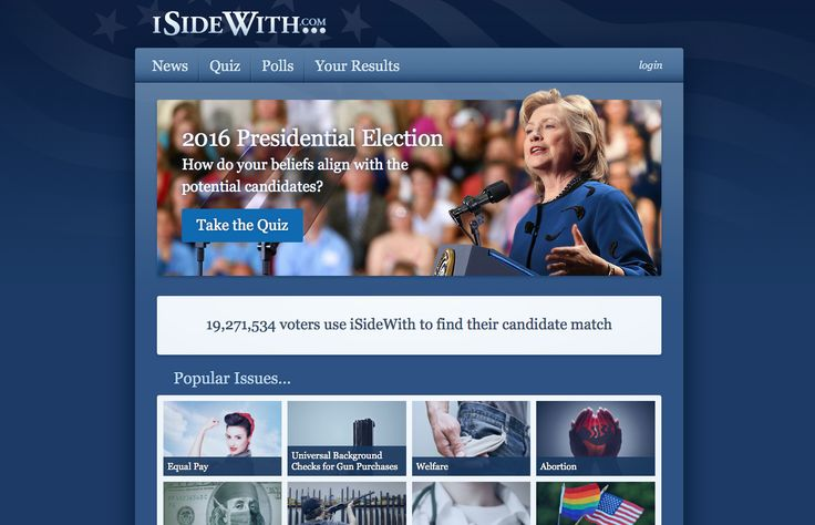 https://www.isidewith.com - Content and format of interactive quiz on political issues to calculate and compare your match which each Presidential Election 2016 candidate
