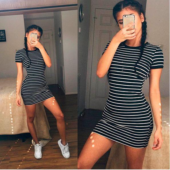 summer women stripe dress girls student dresses – michelles cool ish