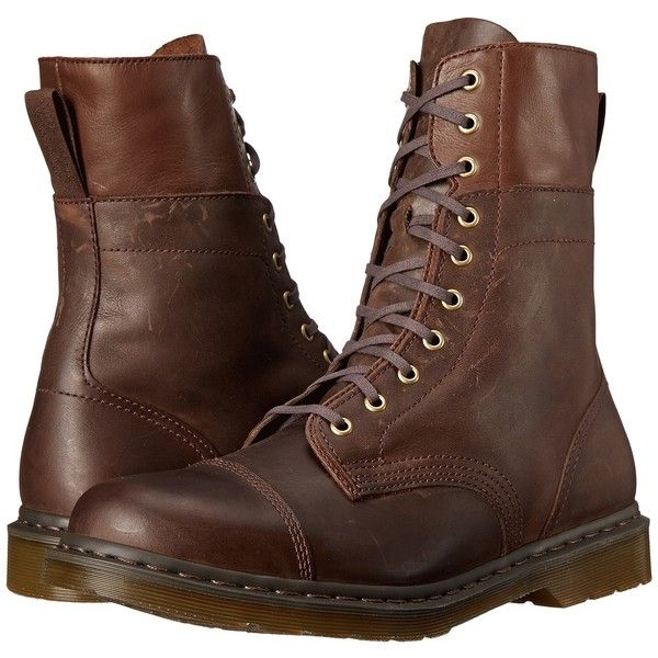 Dr. Martens Hayes (Dark Brown Wyoming/Mirage) Men's Shoes ($105) ❤ liked on Polyvore featuring men's fashion, men's shoes, men's boots, shoes, men, boots, mens shoes, brown, mens long boots and mens boots