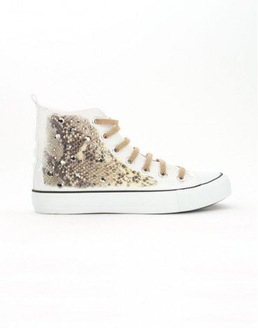 Francesco Milano,Sneakers Canvas Bianco, Pitone Oro   store.glamourshoesaccessori.it