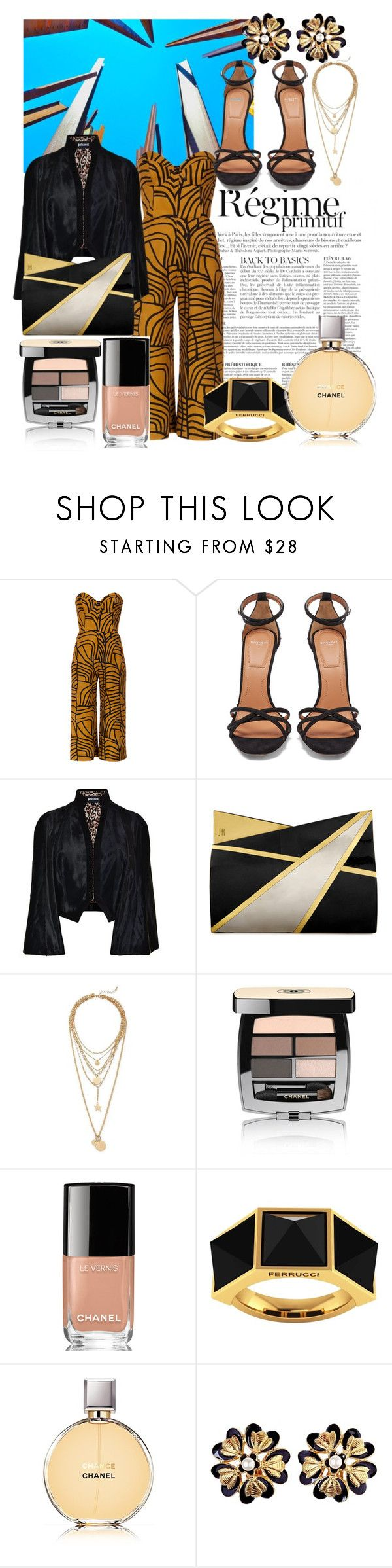 """Jumpsuit 1."" by unaqualunque ❤ liked on Polyvore featuring Anja, Andrea Marques, Givenchy, Just Cavalli, Jill Haber, Rebecca Minkoff, Chanel and Ferrucci"