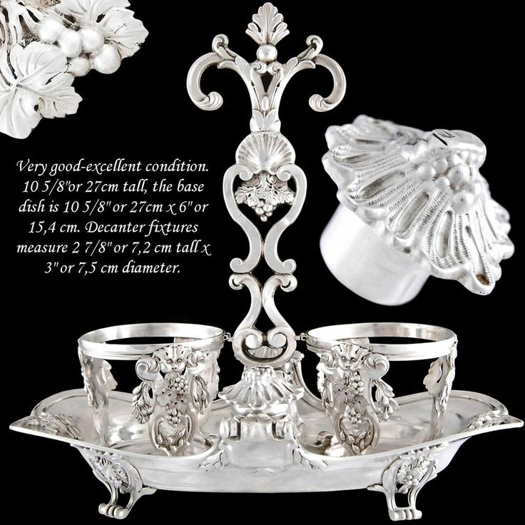 Antique French Sterling Silver Oil & Vinegar Set with Mascarons - Doyen
