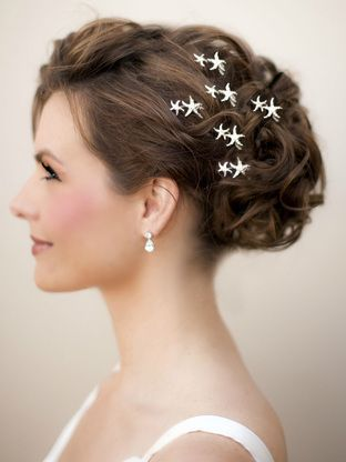 Beach Bridal Hair Accessories - Small, delicate silver starfish wedding bridal hairpin accented with clear rhinestones by Hair Comes the Bride.