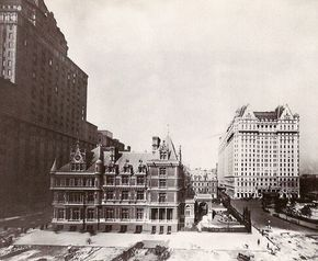 The Cornelius Vanderbilt II Mansion extending the entire block.