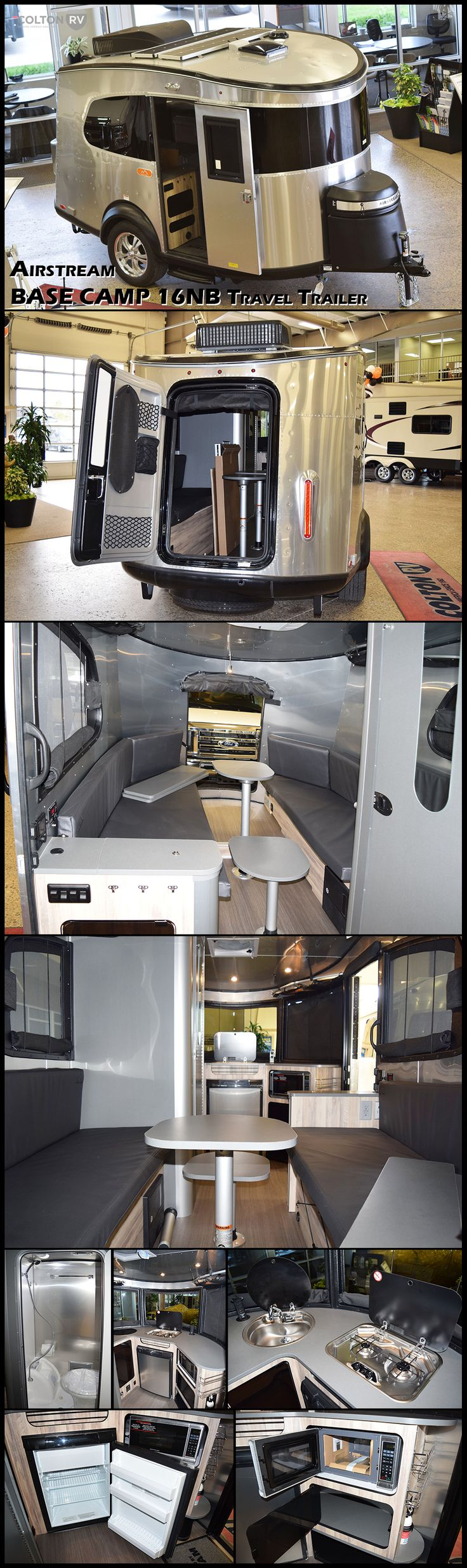 Welcome the newest addition to the Airstream family, the 2017 BASECAMP 16NB travel trailer. Hit the road, hit the trails, and get going. Basecamp is full of features that help you fuel up for the day, then clean up and sack out when it's all said and done. From the rear hatch for your gear to the on-board restroom to the convertible living space that forms a relaxing bed, it's all right there with you, along for the ride.