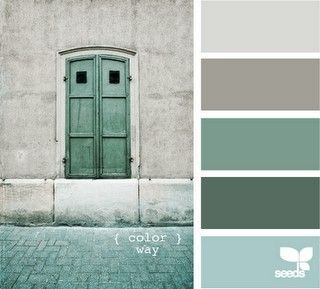 Sea glass colors with shades of gray