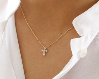 eeedc905e Tiny Diamond Cross Necklace/ 14k gold diamond cross necklace/ Diamond Cross  Pendant/ Mini Cross White Diamond Necklace Prong Setting .15ctw