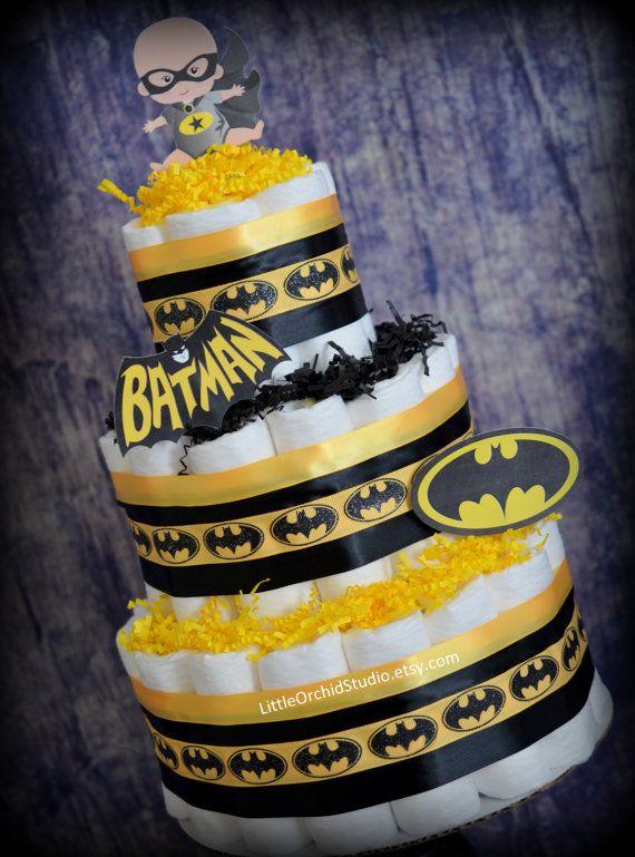 Batman Diaper Cake/ Diaper Cake for Boys/ Superhero baby shower/ Super Hero/ Batman baby shower/ Gifts for baby boy/ Baby boy/ Baby Gifts by LittleOrchidStudio