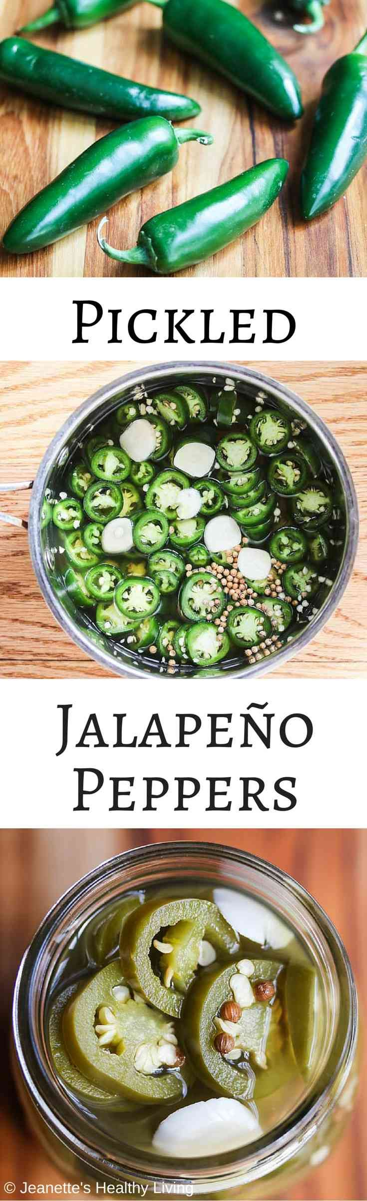 Pickled Jalapeño Peppers - so easy to make at home. Garlic and coriander seeds add a little something special. ~ http://jeanetteshealthyliving.com