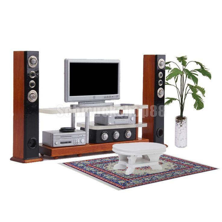 Modern 1 12 Puppenhaus Miniatur Möbel TV DVD Surround Sound SET Decor | eBay
