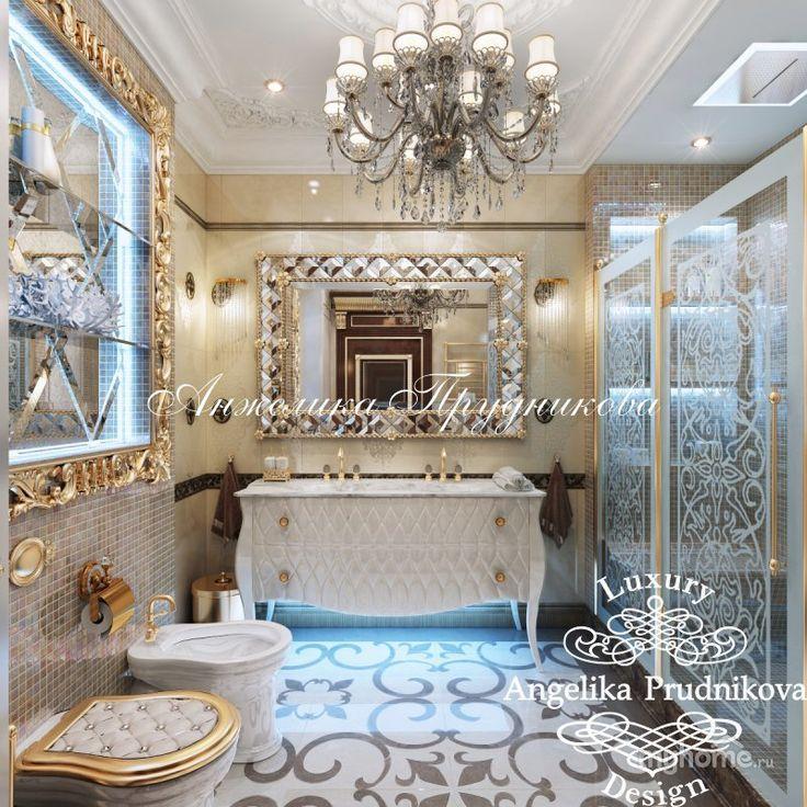 Дизайн-проект интерьера квартиры встиле Ар-Деко в ЖК Виноградный. Ванная