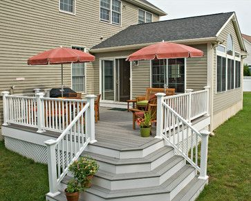 Corner Deck Steps Trimmed With White Risers And A Cascading Design, Add  Plenty Of Style
