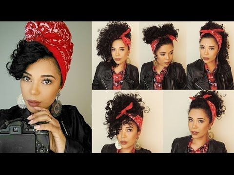 bandana updo for curly hair high ponytail | Fernanda Chaves - YouTube
