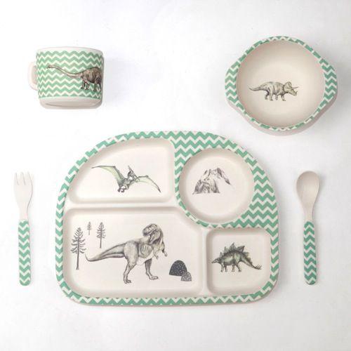 "Image of Bamboo Baby Set / Coffret bébé en bambou ""Dinosaur Feast"""