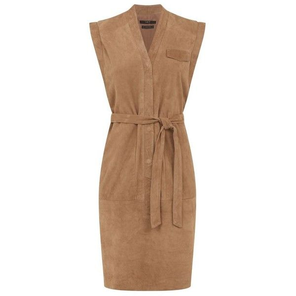 SET Belted Suede Dress (€480) ❤ liked on Polyvore featuring dresses, day to night dresses, beige dress, suede dress, belted dress and seamless dress