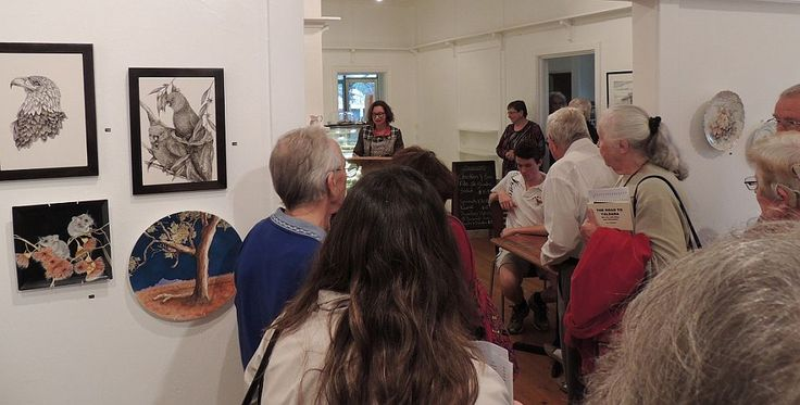 Alaine King welcoming exhibitors and guests at the opening for 'Birds, beasts and beauty', 16 April – 10 May 2015, Strathnairn Arts
