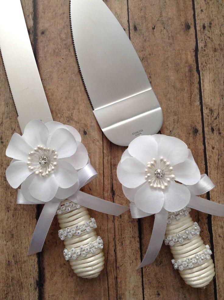 Wedding Cake Server and Knife Set / White Elegant Wedding Cake Cutter Set /Vintage Wedding Cake Cutter Set /Rhinestone and White Cake Cutter by CraftsbyBeba on Etsy