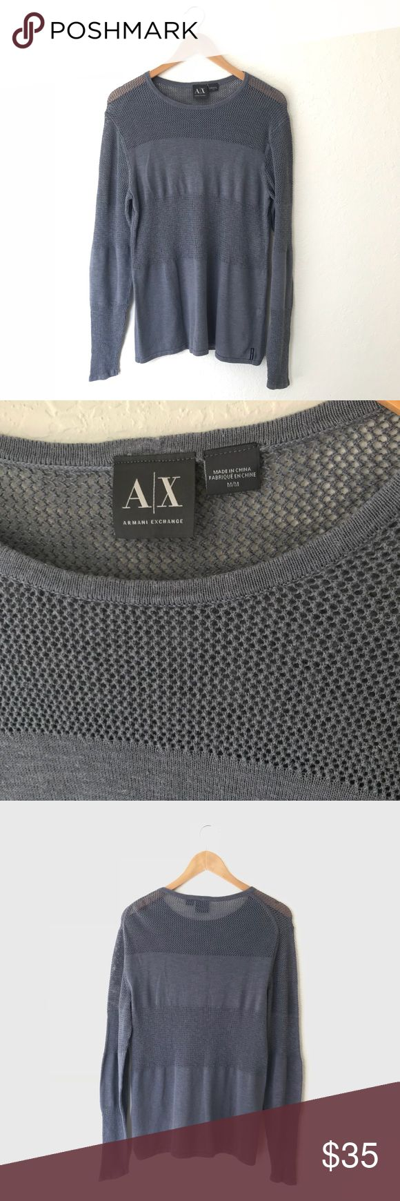 Armani Exchange Gray Mesh Panel Sweater Long sleeve gray mesh panel sweater for Men by Armani Exchange. Excellent preowned condition. A/X Armani Exchange Sweaters