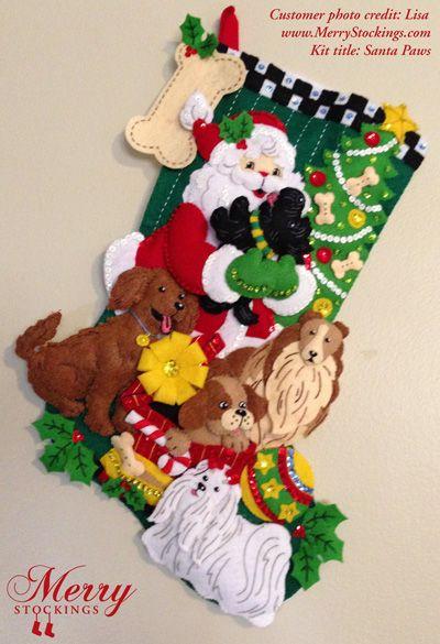 "Bucilla felt Christmas stocking kit, ""Santa Paws"". Customer photo sent to MerryStockings from Lisa. Thanks!"