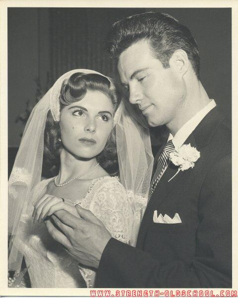 Steve Reeves and his first wife, Sandra Smith [m. 1955-1956; divorced]