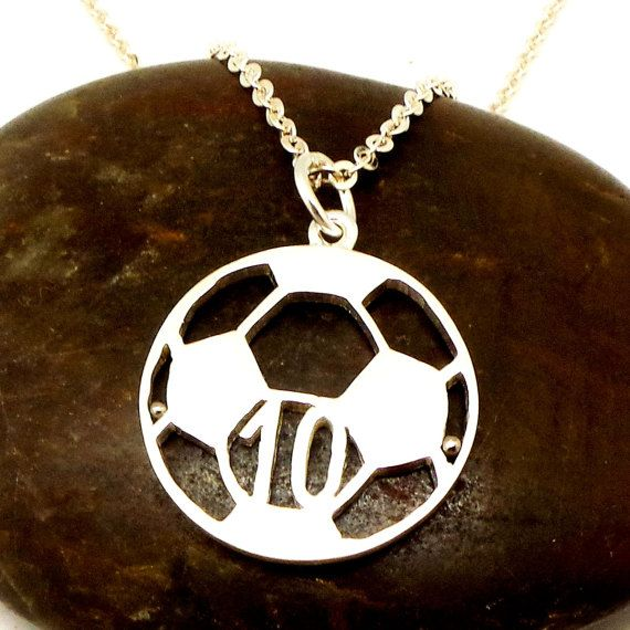 Personalized Number Soccer Ball Necklace  Soccer Ball by yhtanaff