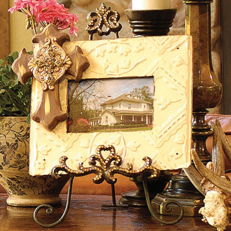 Brown Frame With Cross And Easel