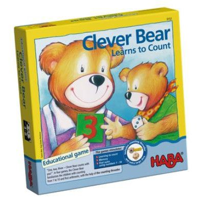 One, two, three - Clever Bear counts with you! In four games, the Clever Bear familiarises children with counting from 1 to 10 and first maths, with the help oHABABRIGf the counting threader and different dice with symbols or numbers. An educational game for 2 to 5 players, with a variations for younger players. Game includes 1 bear counting threader, die with numbers, die with hands, die with dots, 40 cards and instructions.