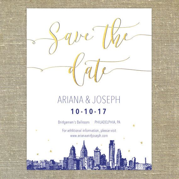 Philadelphia Skyline Gold and Navy Save the Date SAMPLE ONLY; philly city skyline
