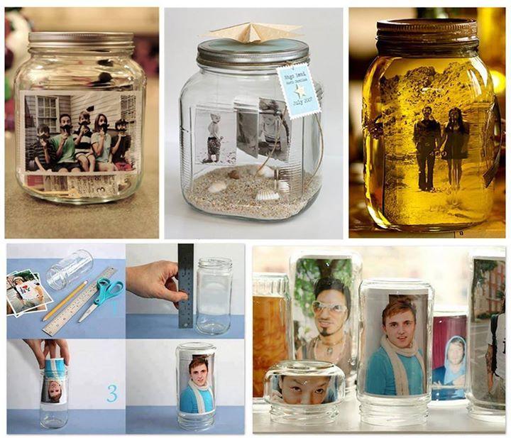 fotos jarro vidrio frasco portaretratos manualidad ingenioso creativo